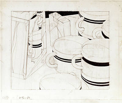 Lincoln Memorial Drawing - Coffee Cups Waitin' For A Fill by John Grazier