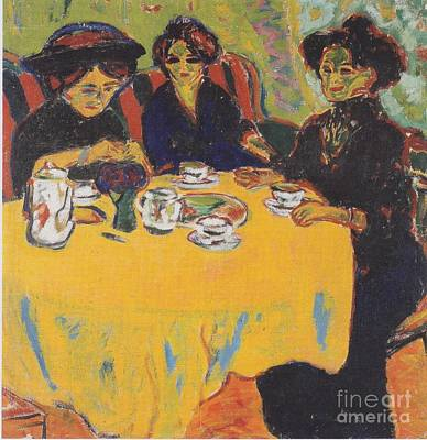 Coffee Drinking Women  Art Print by Celestial Images