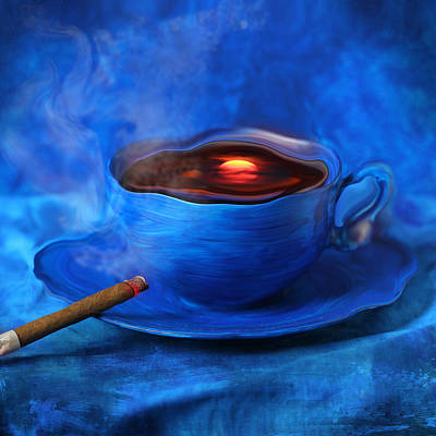 Blues Digital Art - Coffee For Mister Klein by Floriana Barbu