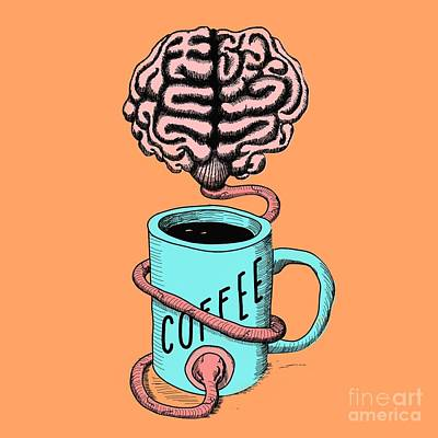 Digital Art - Coffee For The Brain Funny Illustration by Cesar Padilla
