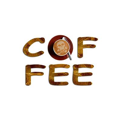 Art Print featuring the painting Coffee Funny Typography by Georgeta Blanaru