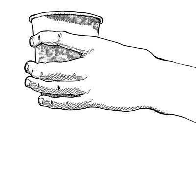 Coffee Hand Art Print by Karl Addison