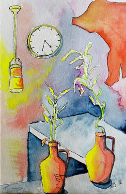 Coffee House Counter With Plants And Clock Art Print