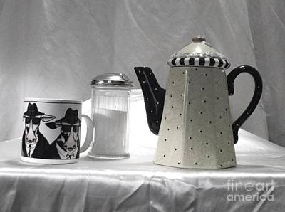 Coffee In Black And White Art Print by Donna Dixon