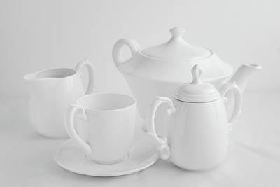 Teapot Photograph - Coffee In White by Tom Mc Nemar