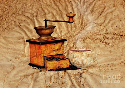 Old Grinders Digital Art - Coffee Mill And Beans by Michal Boubin