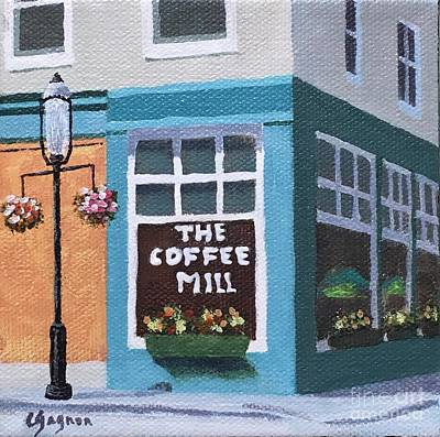 Painting - Coffee Mill Flower Boxes by Claire Gagnon