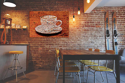 Mixed Media - Coffee On The Cafe Wall by Clive Littin