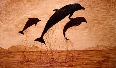 Dolphins Painting - Coffee Painting Dolphins Playing by Georgeta  Blanaru