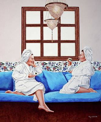 Painting - Coffee Pleasure In Turkish Bath by Rezzan Erguvan-Onal