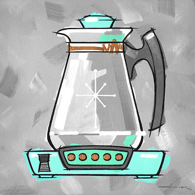 Painting - Coffee Pot Aqua by Larry Hunter