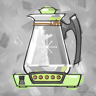 Painting - Coffee Pot Lime by Larry Hunter