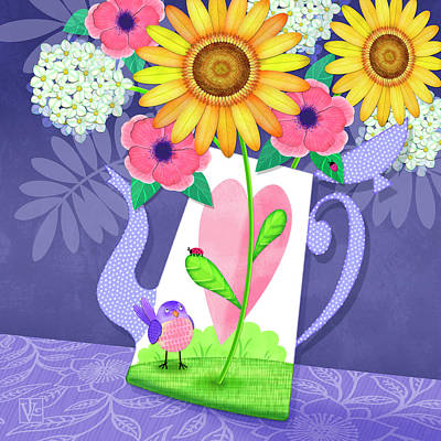 Flowers In Vase Mixed Media - Coffee Pot Surprise by Valerie Drake Lesiak
