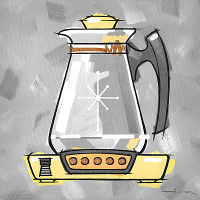 Painting - Coffee Pot Yellow by Larry Hunter