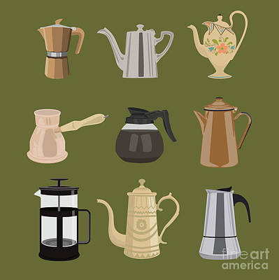 Digital Art - Coffee Pots by Claire Huntley