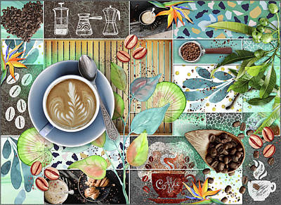 Digital Art - Coffee Shop Collage by Linda Carruth