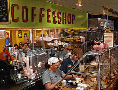 Coffee Shop Art Print by Ted Papoulas