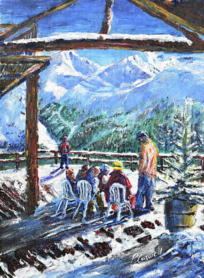 Grande Painting - Coffee Stop At Val D'isere by Pete Caswell