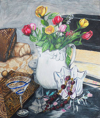 Coffee Table Roses Art Print