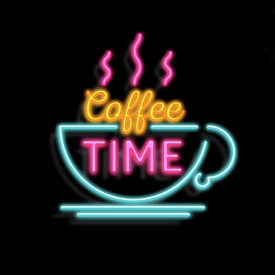 Mixed Media - Coffee Time Neon by Gina Dsgn