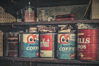 Coffee Tins All In A Row Print by Scott Norris