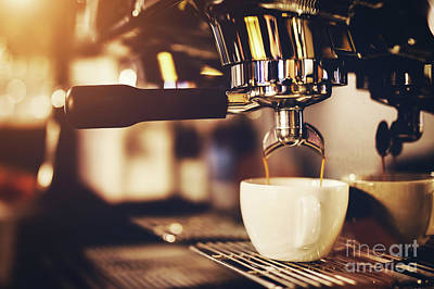 Photograph - Coffeemaker Pouring Coffee Into A Cup. by Michal Bednarek