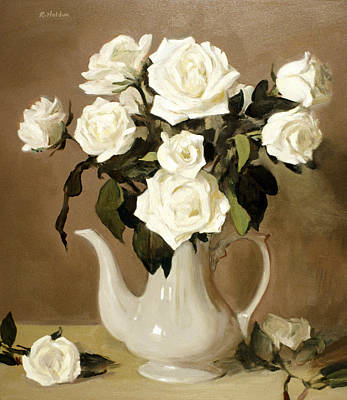 Painting - Coffeepot And Roses by Robert Holden