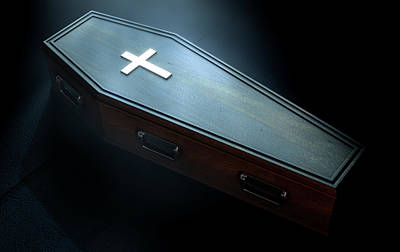 Spooky Digital Art - Coffin And Crucifix by Allan Swart