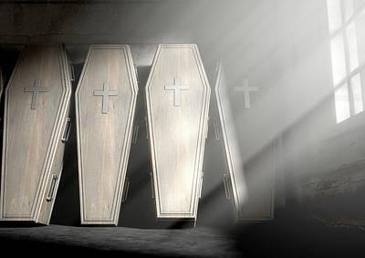 Grave Digital Art - Coffin Row In A Room by Allan Swart