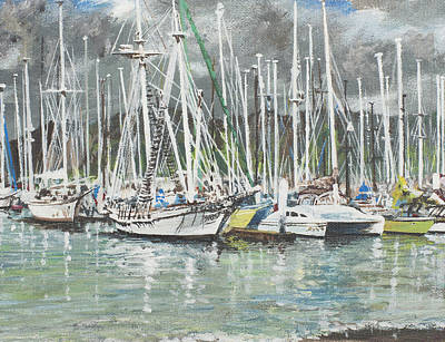Mooring Painting - Coffs Harbour by Vincent Alexander Booth