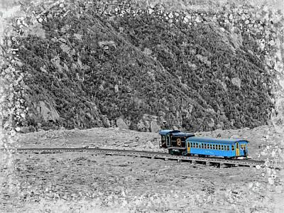 Digital Art - Cog Railway Train.b/w by Rusty R Smith