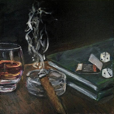 Cognac Art Painting - Cognac And Cigar by Judy Rioux