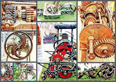 Photograph - Cogs And Wheels Collage by Dorothy Berry-Lound