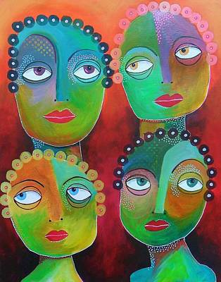 Primitive Raw Art Painting - Coiffured Women  by Bea Roberts