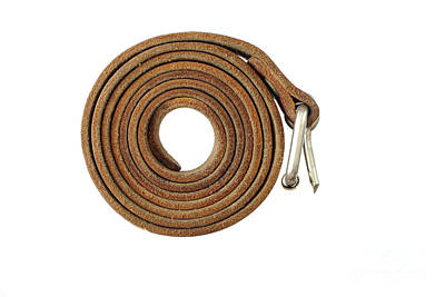 Coiled Leather Belt On A White Background Art Print by Michal Boubin