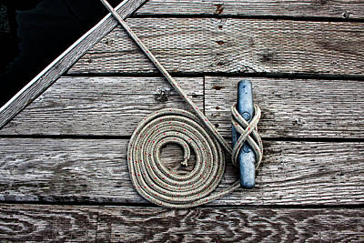 Photograph - Coiled Mooring Line And Cleat by Carol Leigh
