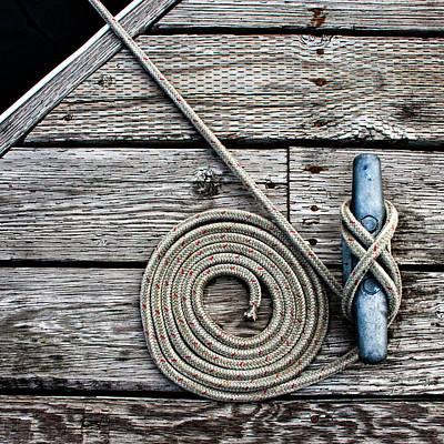 Photograph - Coiled Mooring Line And Cleat Square Version by Carol Leigh