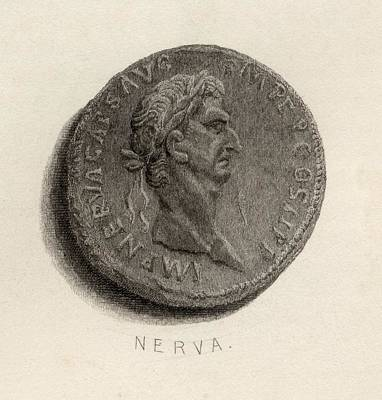 Caesar Augustus Drawing - Coin From The Time Of Nerva Caesar by Vintage Design Pics