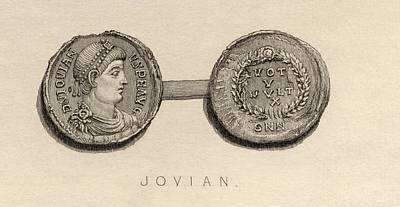 Flavius Drawing - Coin From The Time Ofjovian, Flavius by Vintage Design Pics