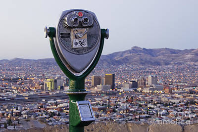 Coin-operated Binoculars And El Paso Skyline Art Print by Jeremy Woodhouse