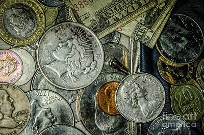 Photograph - Coins And Bills by Kathleen K Parker