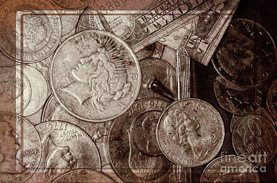 Photograph - Coins And Bills With Texture by Kathleen K Parker