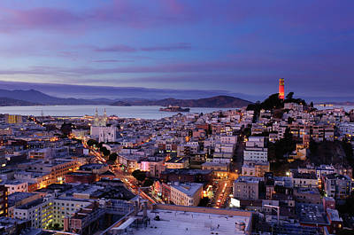 Illuminated Photograph - Coit Tower And North Beach At Dusk by Photo by Brandon Doran