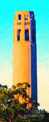 Bay Area Digital Art - Coit Tower San Francisco by Wingsdomain Art and Photography