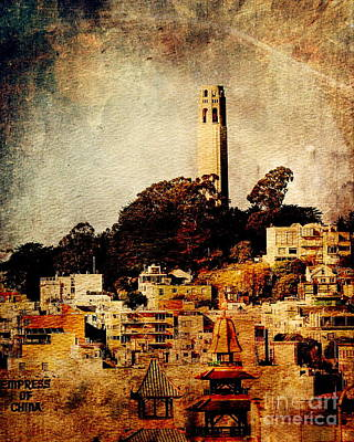 Photograph - Coit Tower The Empress Of China And Moon . Texture by Wingsdomain Art and Photography