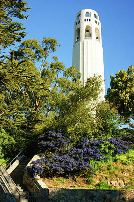 Neighbourhoods Painting - Coit Tower - The Pinnacle Of Telegraph Hill In San Francisco California by Georgia Mizuleva