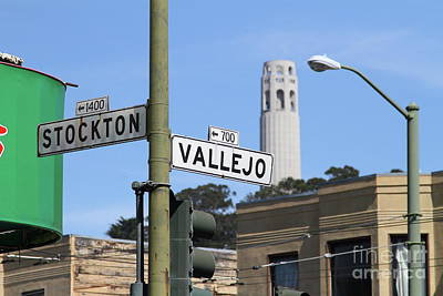 Photograph - Coit Tower Through Stockton And Vallejo Streets San Francisco California 7d7463 by San Francisco Art and Photography