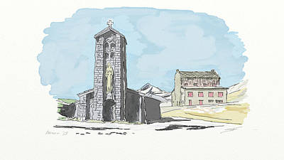 Digital Art - Col De L'iseran Church by Francois Dumas