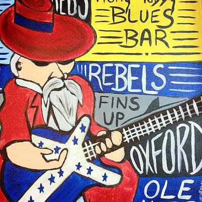 Col Reb Blues Upright Art Print by Lisa Collinsworth