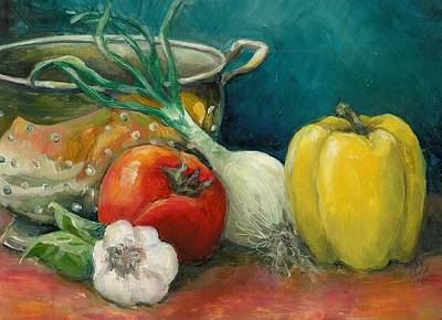 Pepper Painting - Colander Art by Linda Vespasian